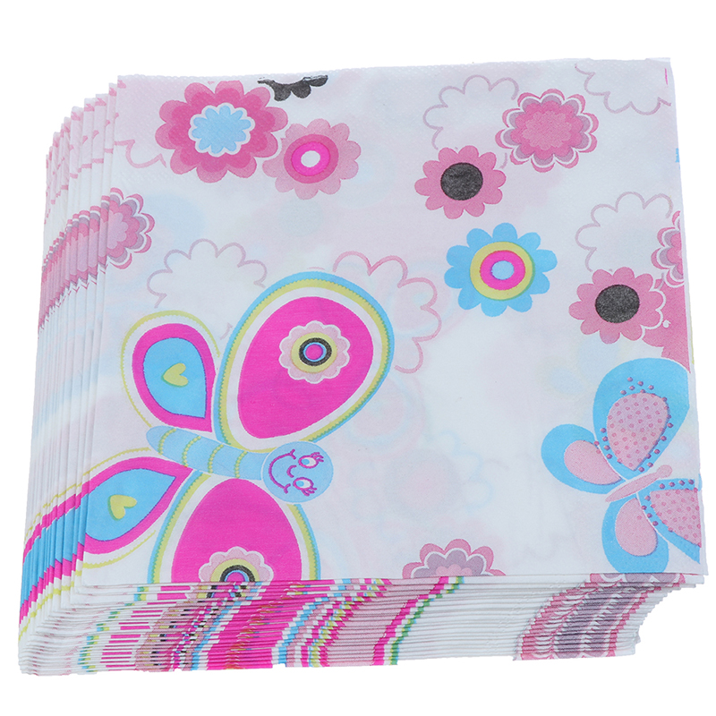 20pcs/lot 33cm*33cm Insect Tissue Napkin Butterfly Paper Napkin With Flower