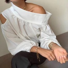 Female 2019 Fall Sexy Irregular Shirt  Club Women Tops Skew Collar Off Shoulder Lantern Sleeve Hollow Out Blouse
