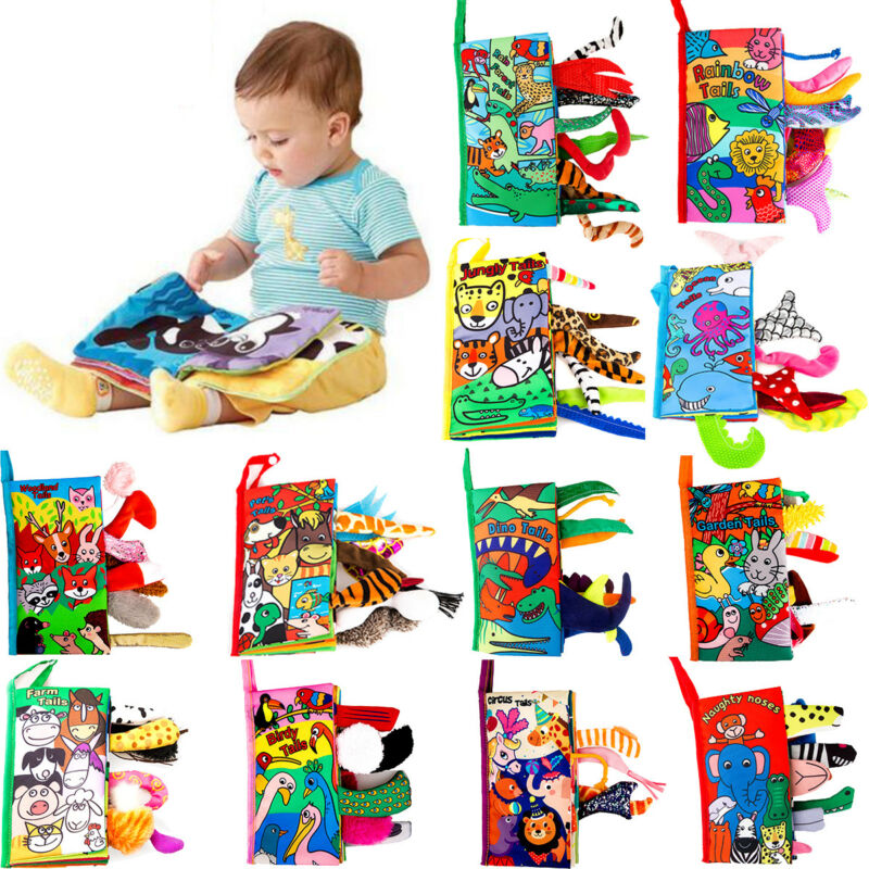 Pudcoco 2020 New Kids 3D Animal Tails Cloth Book Baby Puzzle Toy Development Education Books Best Gift For Newborn Baby