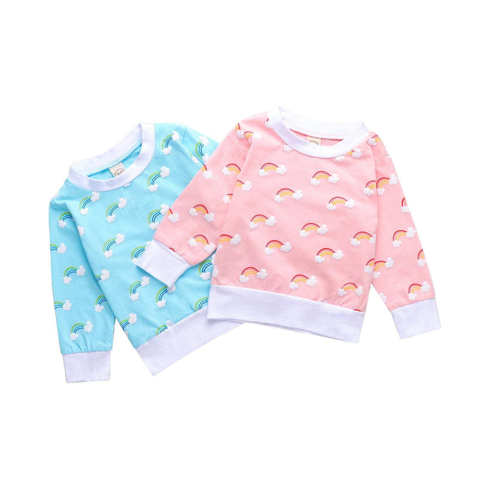Newborn Baby Fashion Rainbow Print Top Casual Long Sleeve Top Kids Boys Girls 0-4T Hoodies Sweatshirts Spring Autumn Clothing