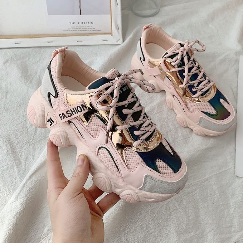 Women's Sneakers New Fashion Women Platform Shoes Lace Up Pink Running Sports Shoes Multicolor Womens Female Trainers E15-17