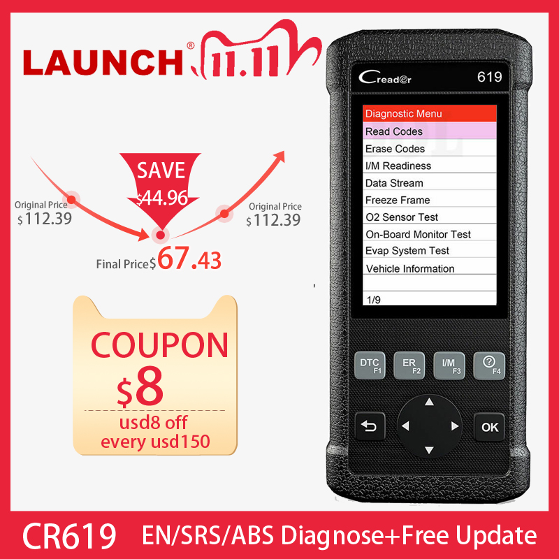 LAUNCH CR619 OBD2 Car Diagnostic Tool Engine ABS SRS Airbag Read Clear Error Code Auto Scanner LAUNCH OBD 2 Scanner Free Update