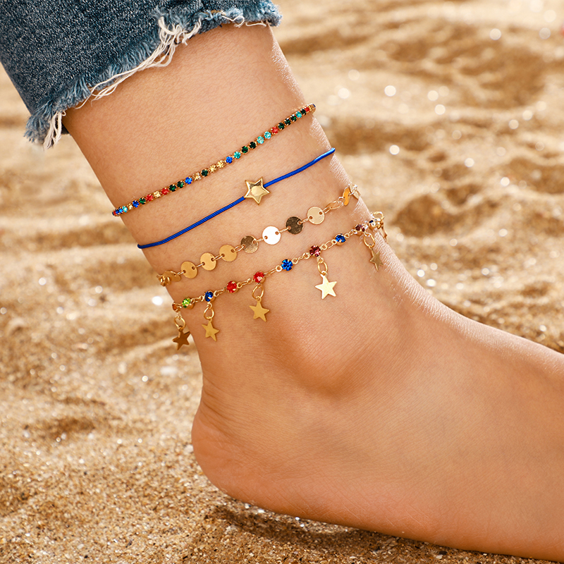 Tocona Foot Jewelry Colorful Crystal Rhinestone Anklet Set Star Sequins Pendant Barefoot Ankle Leg Bracelets Summer Jewelry 8641