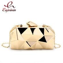 Fashion Handbags Women Metal Clutches Hexagon Mini Party Black Evening Purse Silver Bags Gold Box Chain Shoulder Bag Top Quality