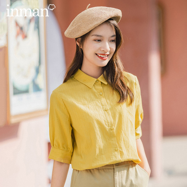 INMAN 2020 Summer New Arriavl Pure Cotton Lapel Loose Leisure All match Blouse