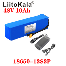 LiitoKala 48V 10ah 48V battery Lithium Battery Pack 2000W electric bicycle battery Built in 50A BMS XT60 Plug+4.6V 2A charger