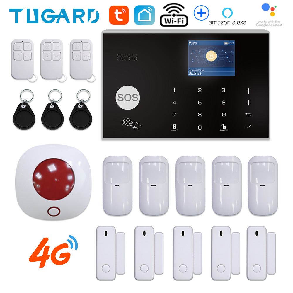Switchable 11 languages Tuya Wireless Home Security 3G 4G WiFi Alarm system 433MHz RFID card Arm Disarm APP Remote Control