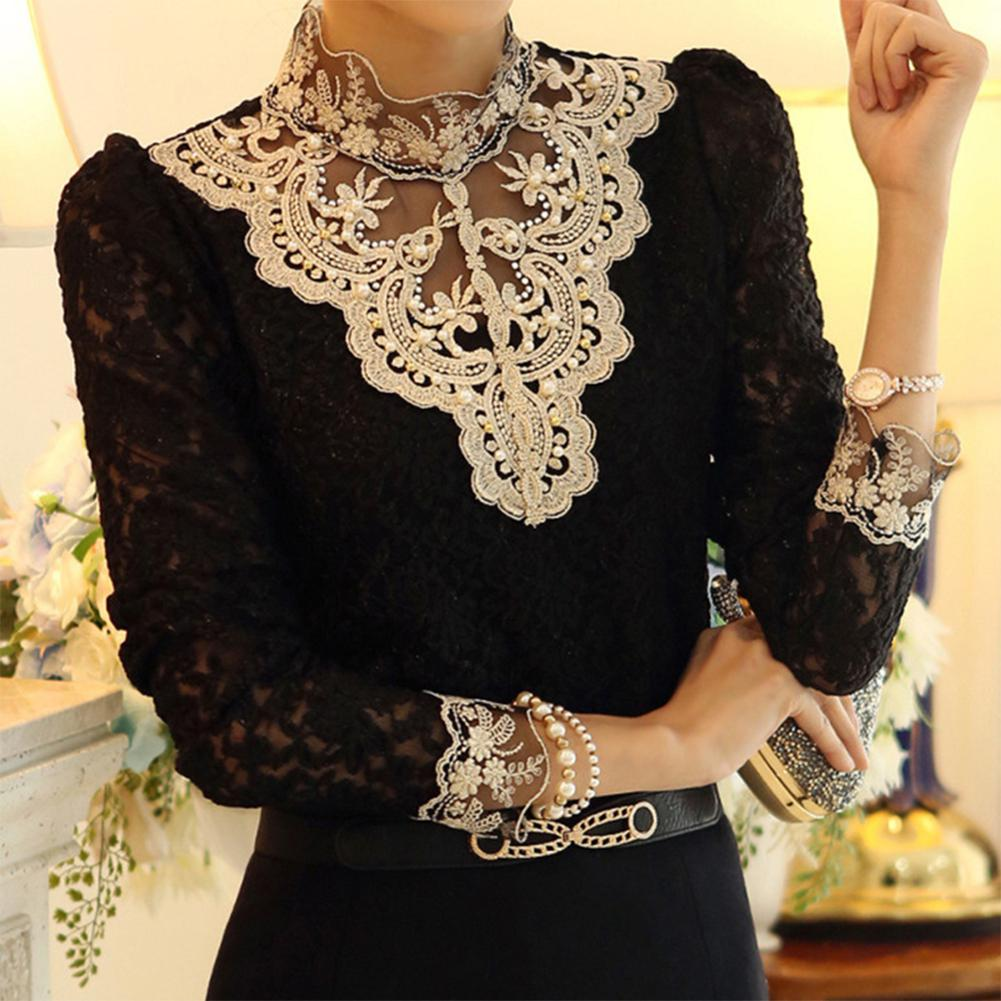 2019 New Gothic Pearl Women Blouse Lace Mesh Black Office Lady Shirts Long-sleeved Elegant Solid Slim Sexy Basic Shirts Tops