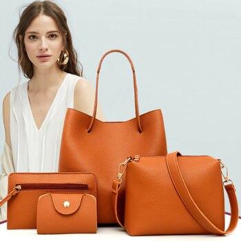 4pcs Fashion Women's Handbag Set PU Leather Ladies Purse Solid Color Shoulder Messenger Bag Wallet Pouch Bags For women