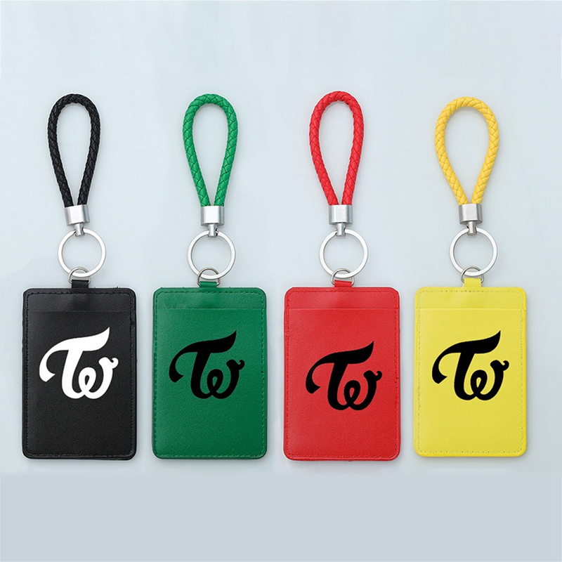 1Pc PU Leather KPOP TWICE Album Badge Business Bus Pass Card Set ID Card Holder Case Cover