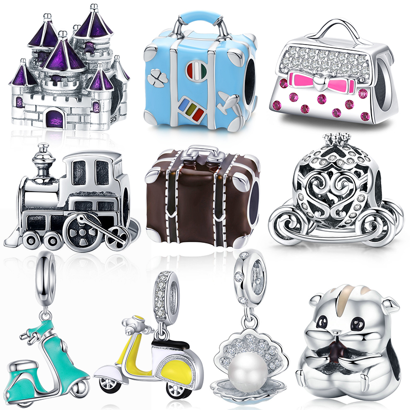 BISAER 925 Sterling Silver Princess Cattle Pumpkin Car Baby Carriage Family House Home Beads Fit Charm Bracelet DIY Jewelry(China)