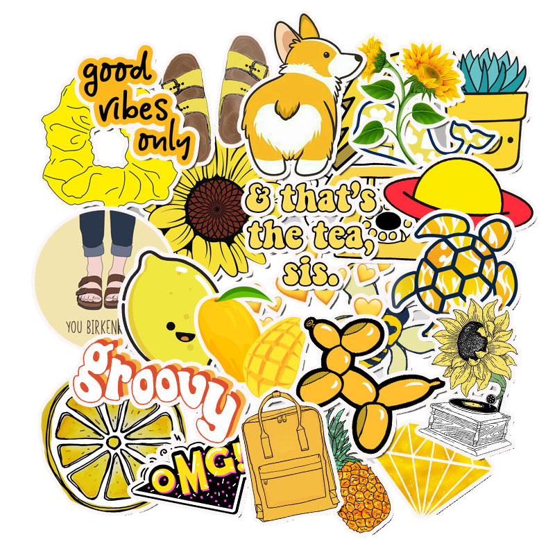 50 PCS Cartoon Yellow Stickers For Chidren Toy Waterproof Sticker To DIY Suitcase Laptop Bicycle Helmet Car Decals