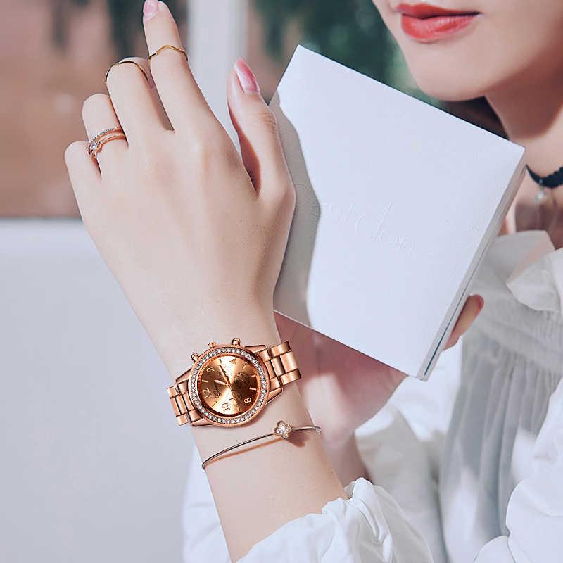 Reloj mujer כסף נשים של שעון אופנה ריינסטון נשים קוורץ שעון יד יוקרה גבירותיי שעון נשים שעון relogio feminino