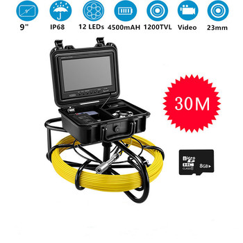 Endoscope Inspection Camera HD 1000TVL Industrial Pipeline Video Monitor With sunshade 9 inch Screen IP68 Waterproof