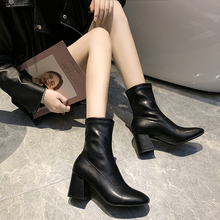 New Stretch Socks boots Women Shoes Slip Ankle Boots Square Toe Spring Winter Leather Elegant high heel Shoes Female Shoes Women kickway 2018 slip on stretch band rubber boots winter ankle chelsea boots women shoes autumn square heel female footwear 34 42