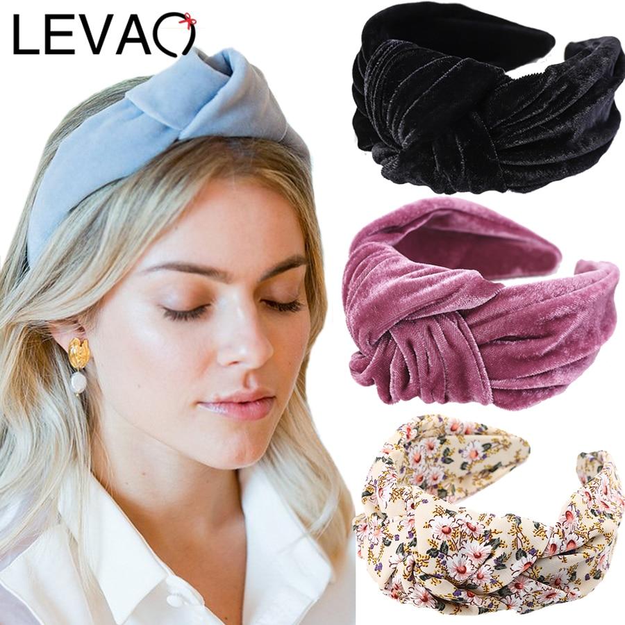 Женский бархатный ободок LEVAO, винтажный ободок с узлом для волос, аксессуар для волос