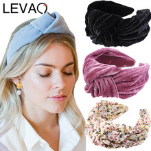 LEVAO Gold Velvet Wide Side Hairband Knotted Headband Bezel Turban Women Vintage Lady Girls Hair Accessories Headwear Head Hoop