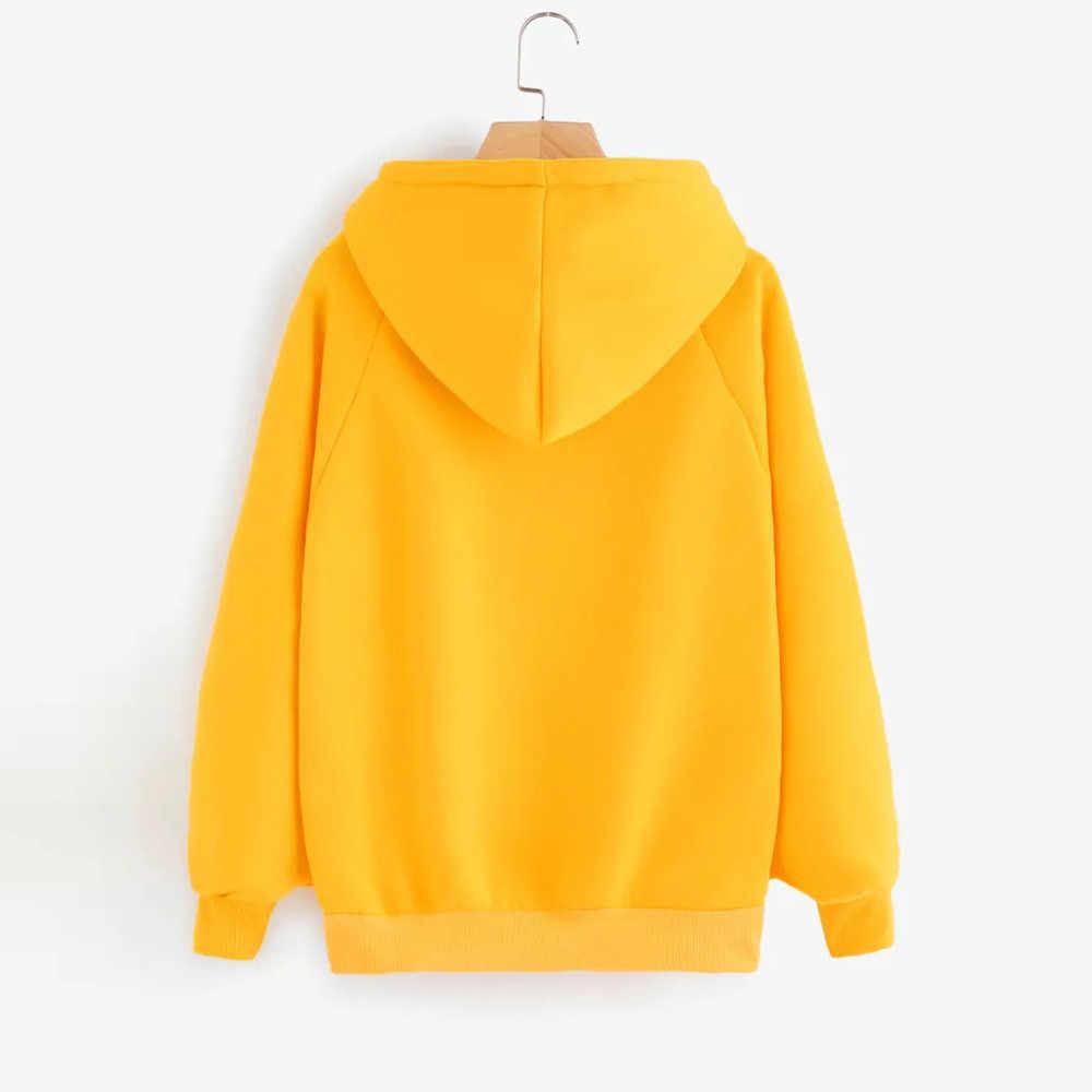 Womail толстовки с капюшоном, верхняя одежда Женская мода осень-зима теплый Джемпер Пуловер желтые кофты Женская, большого размера кофты P95