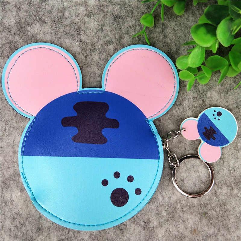 Disney neue cartoon Mickey Maus kopf form farbe gedruckt PU leder geldbörse bus karte set keychain münze brieftasche