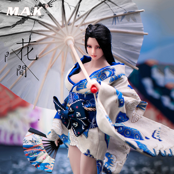 In stock 1/6 Scale Clothes Accessories female soldier Japanese style and short kimono/bath clothes with umbrella