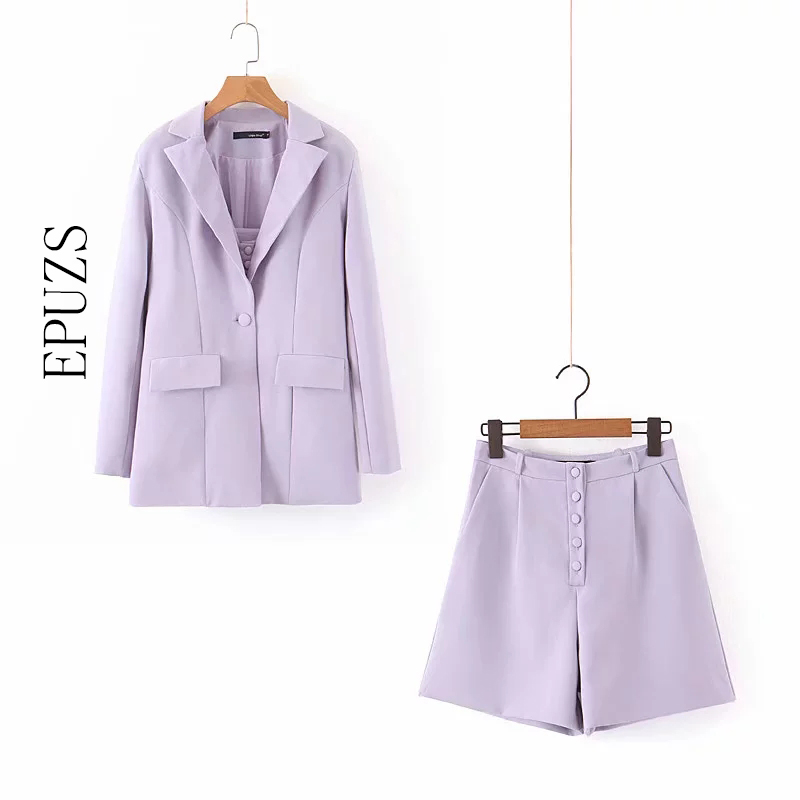 Elegant Purple Blazer Two Piece Set Autumn Office Long Sleeve Blazer Set+high Waist Biker Shorts Set Women Two Piece Outfits