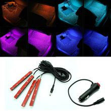 YOLU Car RGB Lights LED Strip Neon Lamp Decorative Atmosphere Lights Wireless Control Car Interior Light