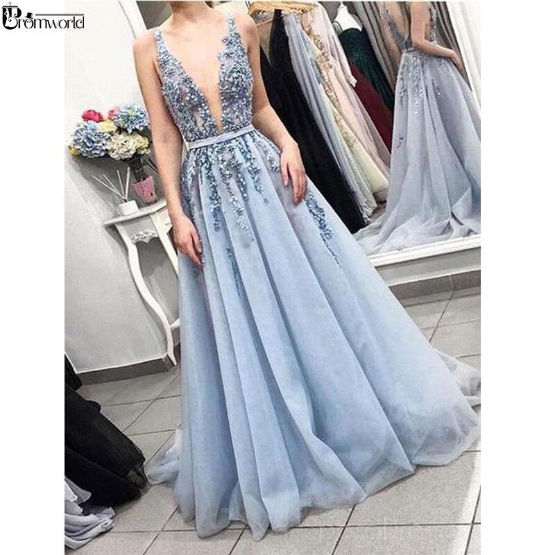 Sexy V-Neck Appliques Lace Beading Blue Prom Dresses Long 2019 Backless Tulle A-line Evening Dress Vestido De Festa Longo