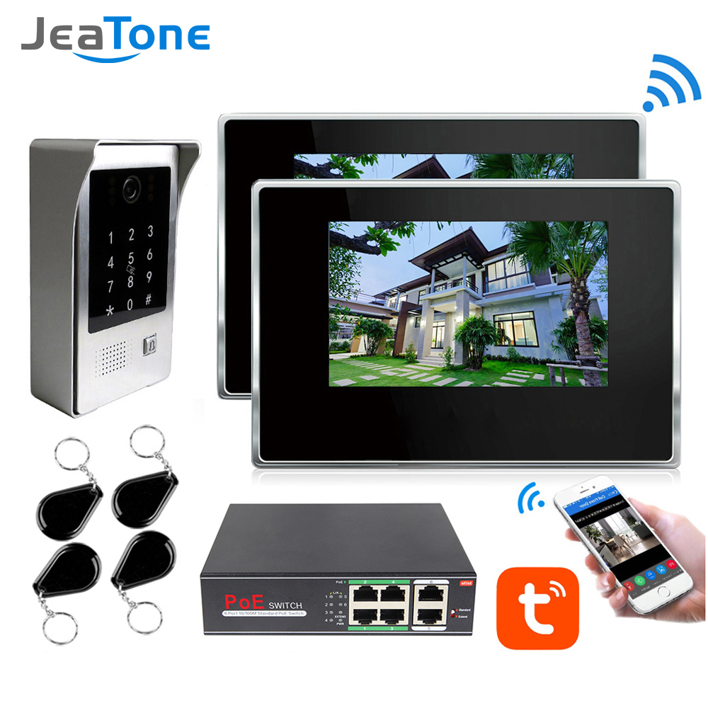 TuyaSmart APP IP WIFI Video Doophone Intercom POE System 7''Touch Screen Monitor With Doorbell Support Password/RFIC Card 125MHZ