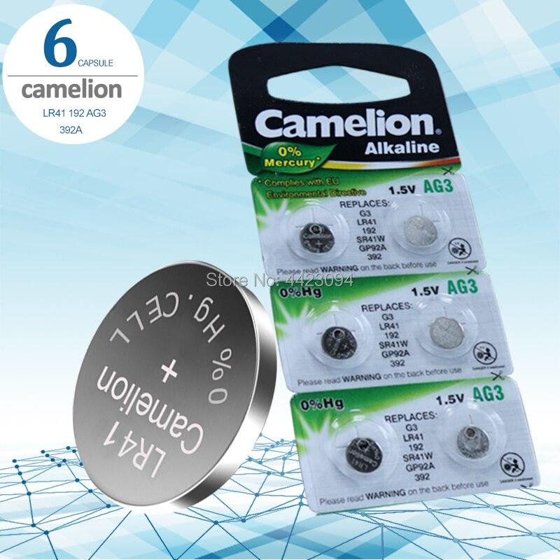 6pcs LR41 Zn/MnO2 1.5V Lithium Coin Batteries Button Cell Batteries Camelion 100% Original SR41 AG3 G3A L736 192 392A