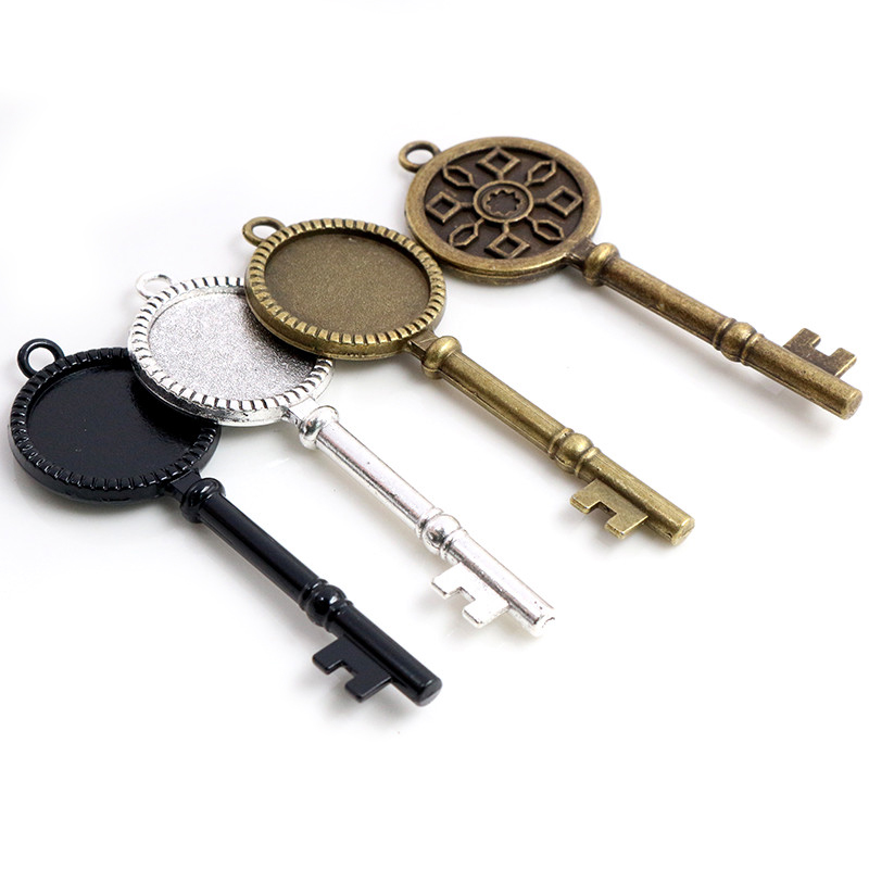5pcs 20mm Inner Size Antique Silver Plated Bronze Black Key Style Cabochon Base Setting Charms Pendant