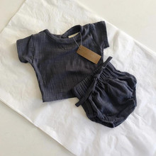 Повседневные льняные комплекты, топы+ шорты, милые комплекты одежды для малышей, Детские льняные шорты с короткими рукавами, pp, популярные штаны, комплект из двух предметов для малышей