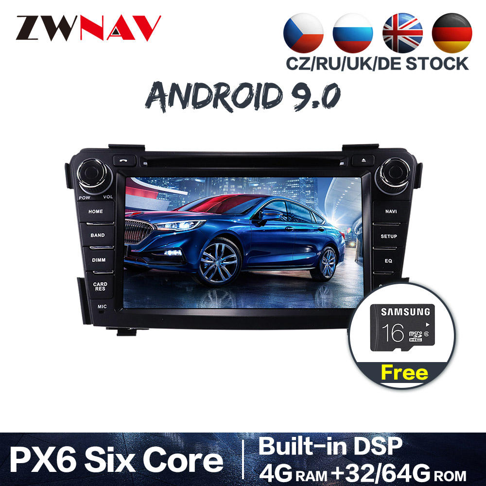 DSP Android 9.0 PX6 4+64GB 8 Core IPS Screen Radio Car Multimedia Player Stereo <font><b>GPS</b></font> Navigation For <font><b>HYUNDAI</b></font> <font><b>I40</b></font> 2011-2016 image