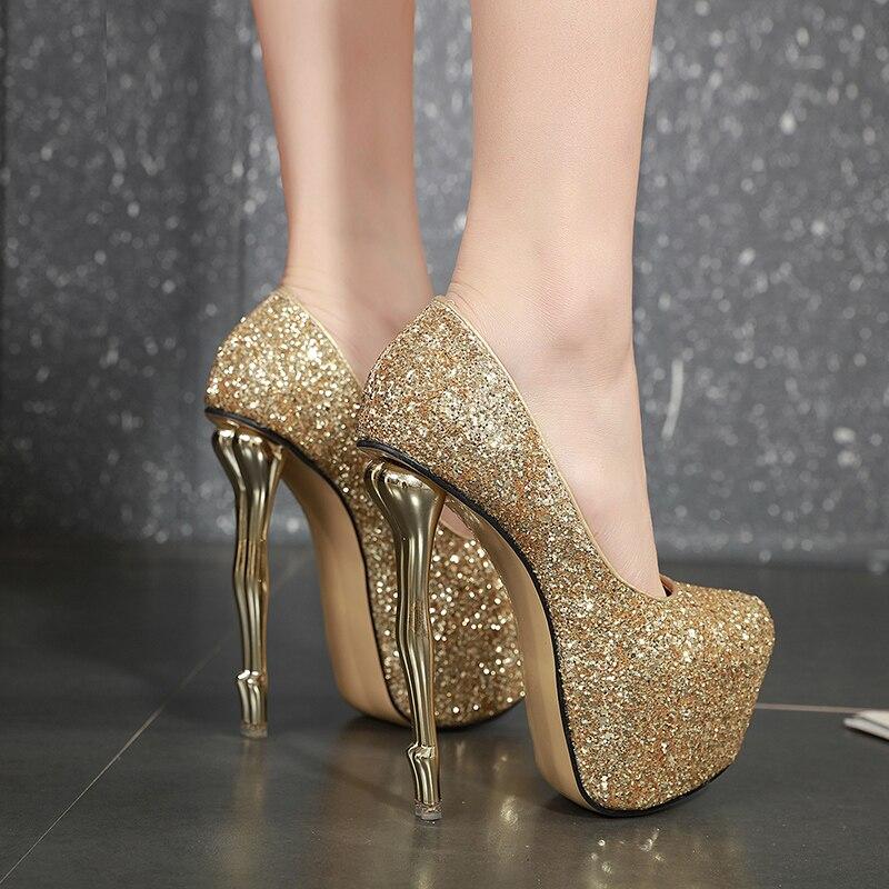 medusa heels thin high heel Shoes 16cm heels gold Wedding Shoes Platform Stiletto Heels Open Toe silver Pumps Women Shoes YMB74