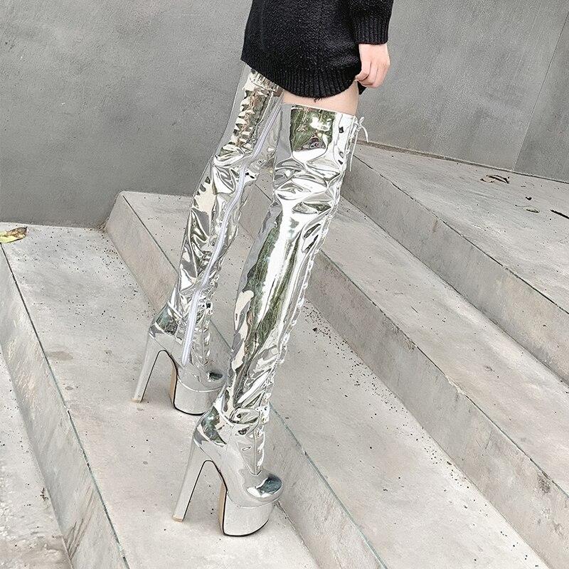 Intention originale mode sur le genou bottes hautes femme Platfrom bottes Super talons bottes d'hiver bottes miroir argent chaussures femme grande taille - 2