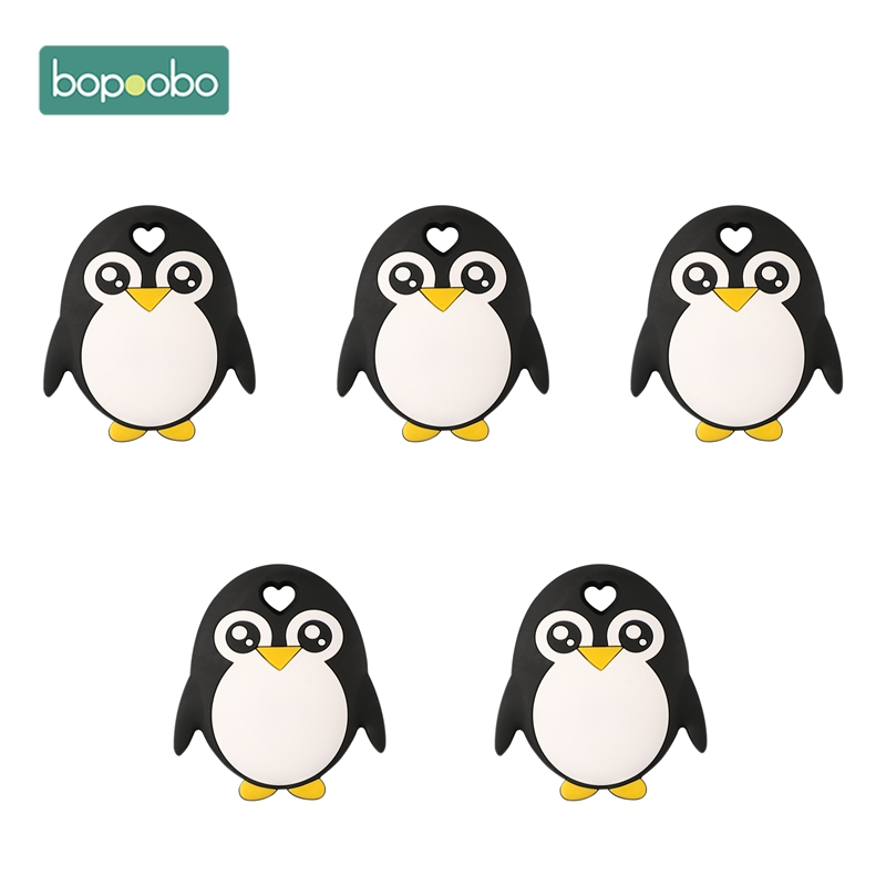 Bopoobo 5pc Baby Mobile Holding Bpa Free Silicone Penguin Teether Chewable Nursing Teething Accessory Baby Products Newborn Toys