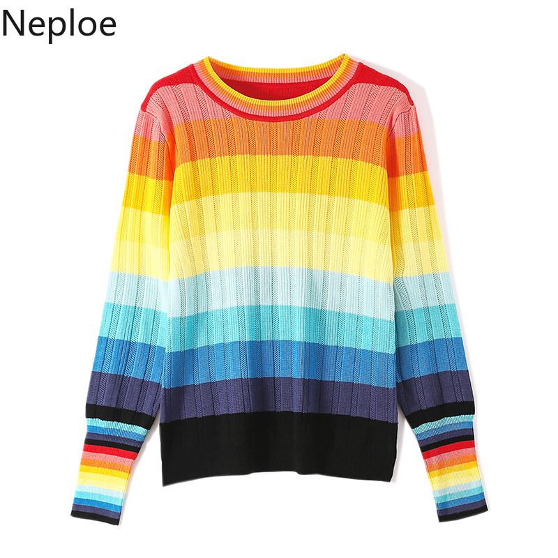 Neploe Loose Jumper Pullovers Women Sweater Rainbow-Stripes Color-Block Knitted Winter