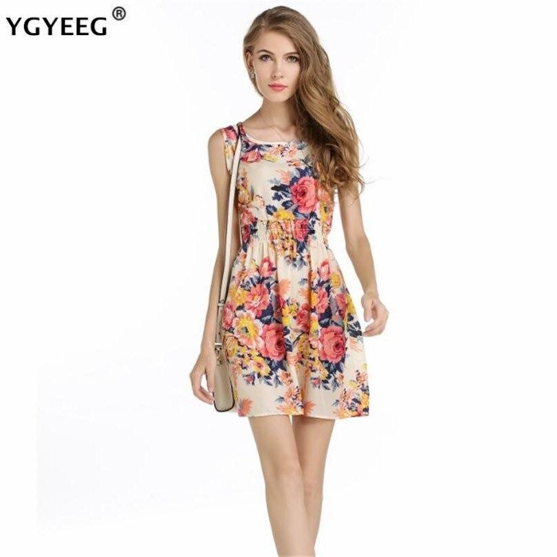 YGYEEG New Summer Style Women Vintage Dresses Casual Mini O-Neck Desiger Sleeveless Short Dress Party Evening Elegant Plus Size