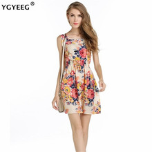 YGYEEG New Summer Style Women Vintage Dresses Casual Mini O-Neck Desiger Sleeveless Short Dress Party Evening Elegant Plus Size