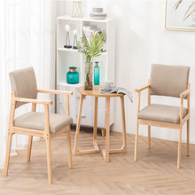 Solid Wood Dining Chair Armrest Nordic Home Furniture Modern Minimalist Back Casual Coffee Study Bedroom Dining Real Wood Chair