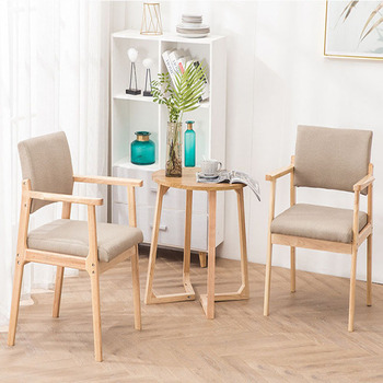 Solid Wood Dining Chair Armrest Nordic Home Furniture Modern Minimalist Back Casual Coffee Study Bedroom Real