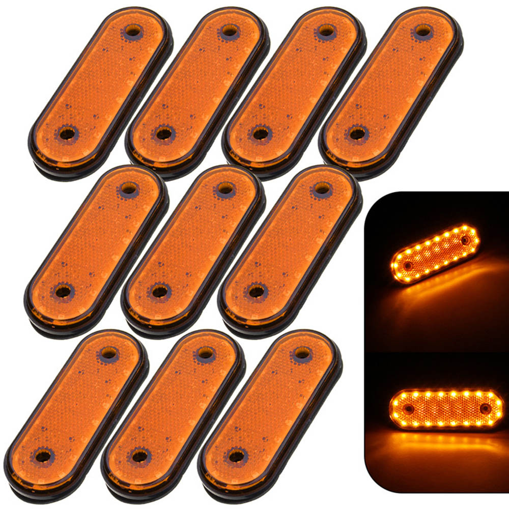 10 Pcs 24V Truck Side Marker Lights Yellow Shell Yellow Light Marker Light Side Marker LED Trusk Lamp Pickup For Truck Side