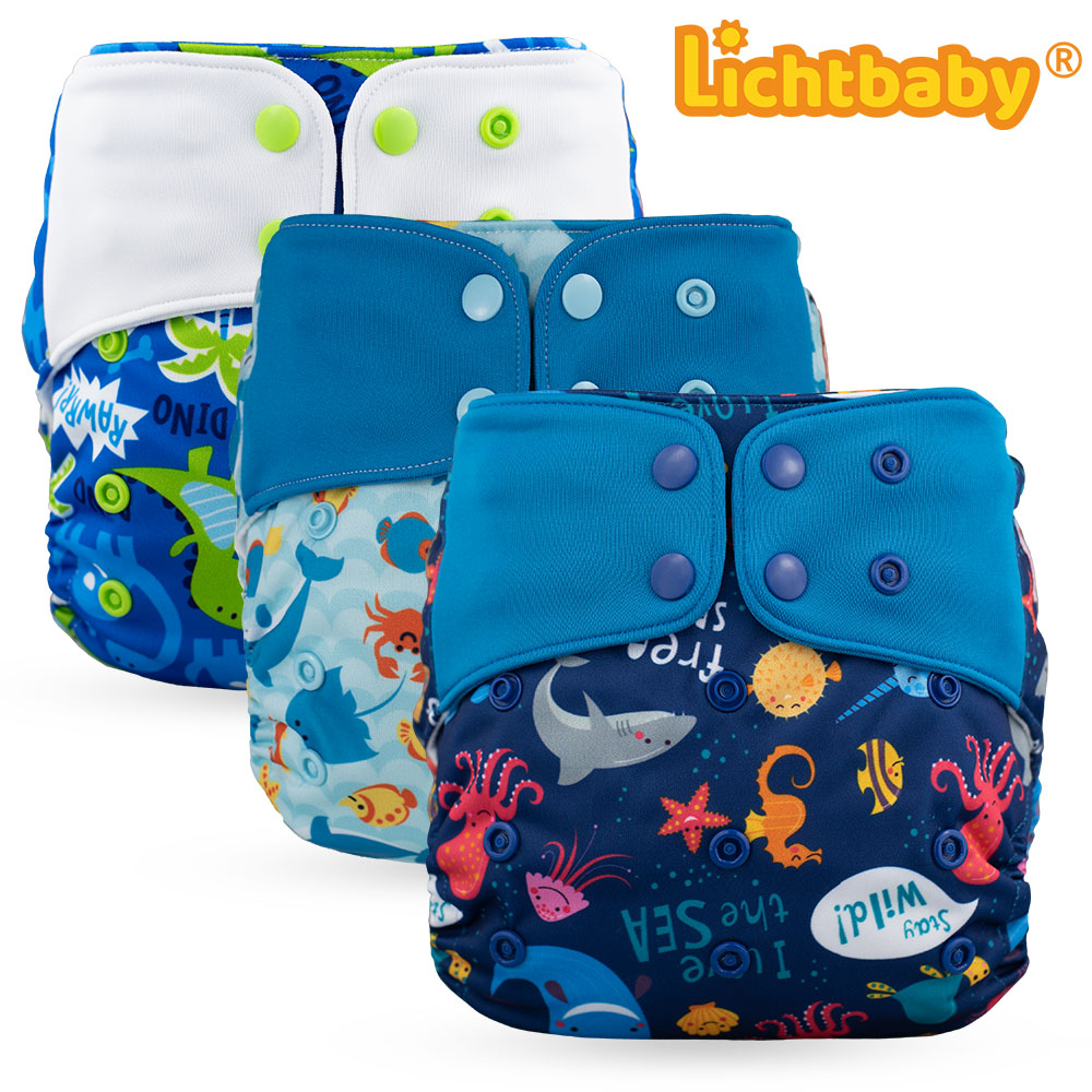 Lichtbaby Fantastic Cloth Pocket Diaper 4-17kg One Size Fit All Nappy Reusable Washable Printing Baby Boy Girl Training Nappy