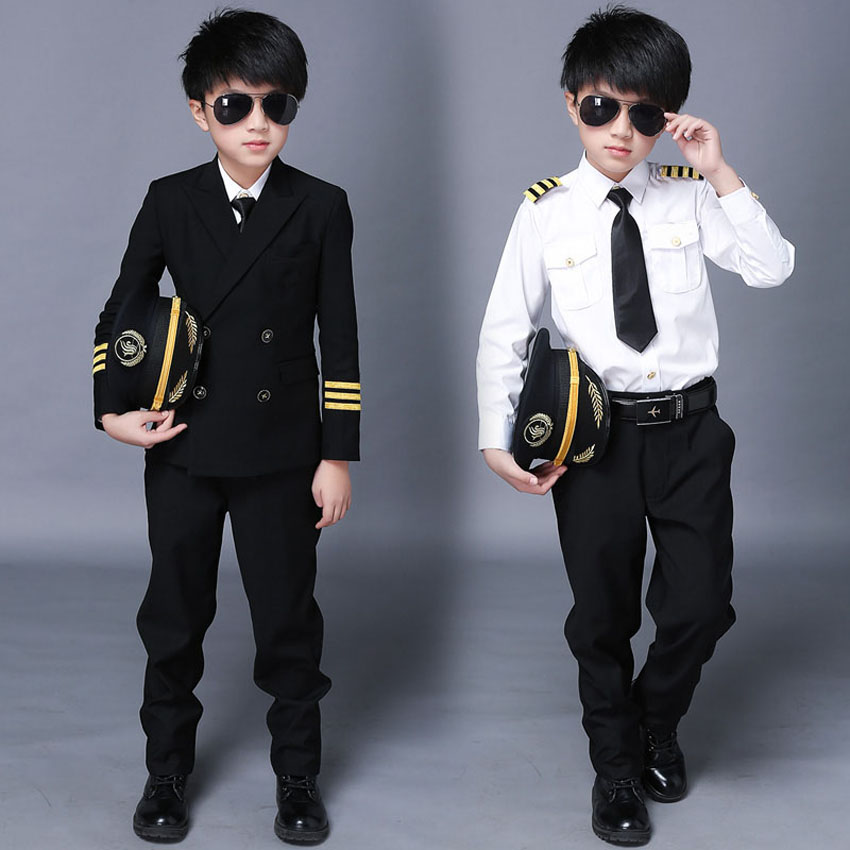 2019 Halloween Stewardess Pilot Fancy Costumes For Boys With Cap Carnival Stage Wear Performance Air Force Military Uniform