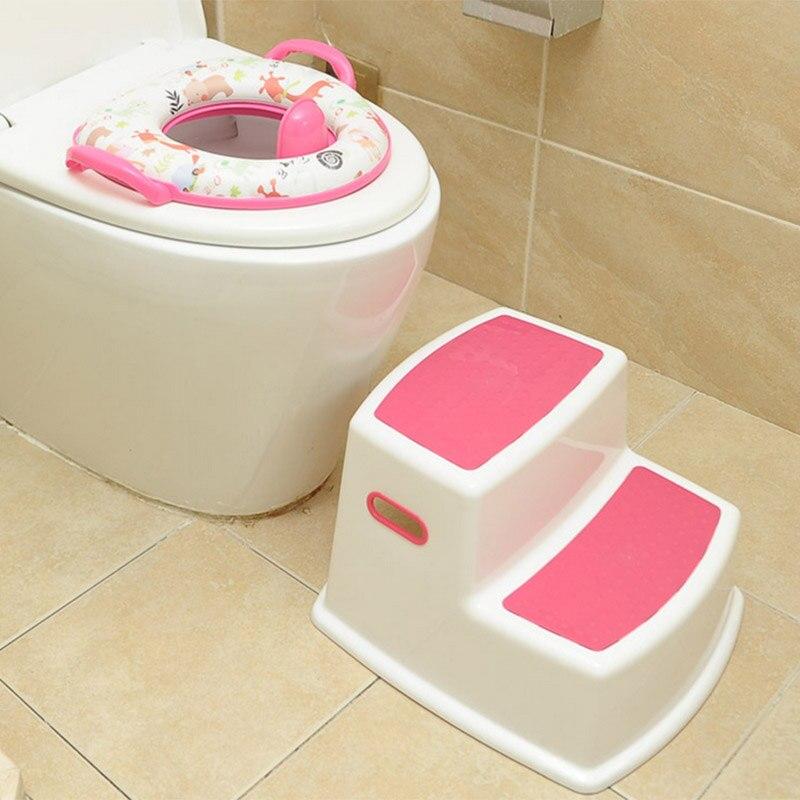 2 Step Stool For Kids Toddler Stool For Toilet Potty Training Slip Bathroom Kitchen GHS99