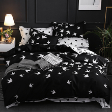 nordic 3pcs bedding set AB side black bed bedclothes reactive printing polyester duvet cover pillowcase