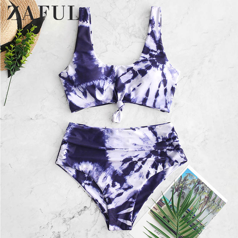 ZAFUL Bikini 2019 Tie Dye Knotted High Waisted Tankini Swimwear Tankini Scoop Neck High Waisted Women Bathing Suit Swimsuit