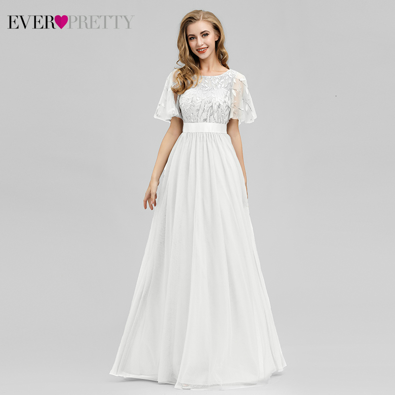 White Beach Wedding Dresses Ever Pretty EP00904 A-Line Ruffles Sleeve O-Neck Sequined Lace Bride Gowns Robe De Mariee Brillante