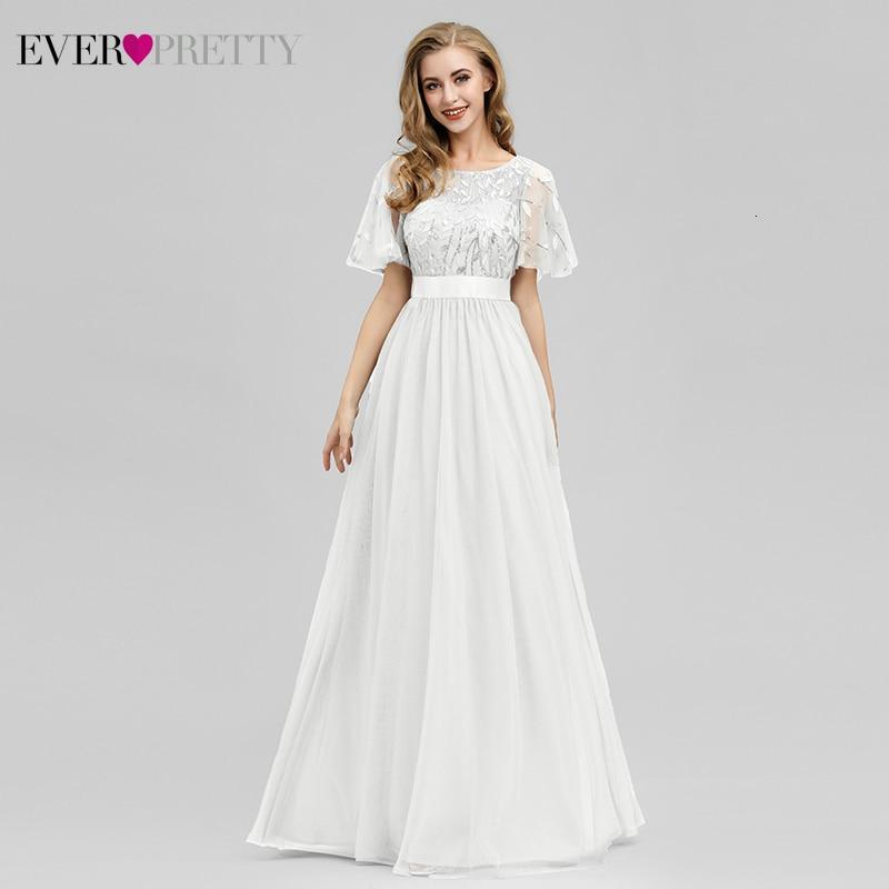 White Beach Wedding Dresses Ever Pretty EP00904 A-Line Ruffles Sleeve O-Neck Sequined Lace Bride Gowns Robe De Mariee Brillante