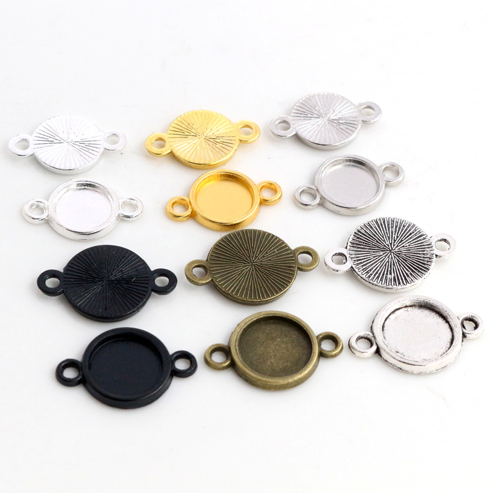 50pcs 8 10mm Inner Size Classic 6 Colors Plated One Sided Double Hanging Simple Style Cabochon Base Setting Charms Pendant