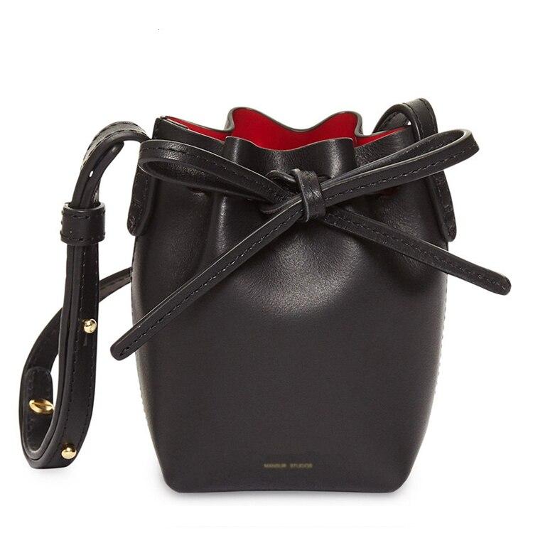 MANSUR Real Leather Women Bucket Handbag Vintage Cow Leather Messneger Bag Clutch Composite Bag Tote Barrel QUALITY Brand Bag